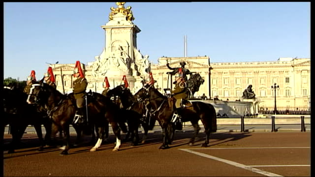 royal family attends church / preparations england london the mall ls mounted horseguards along past buckingham palace at rehearsal for queen's... - golden jubilee stock videos & royalty-free footage
