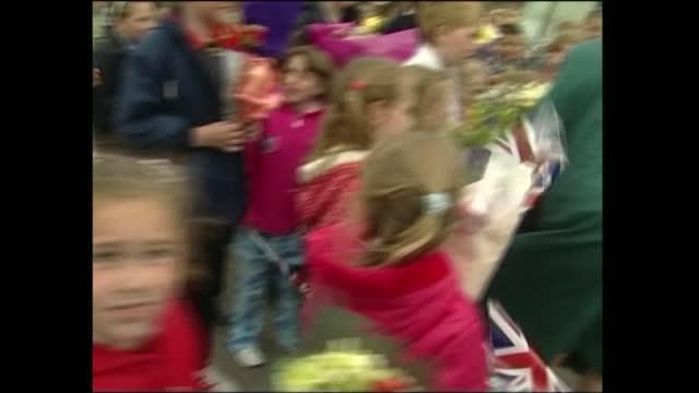 queen elizabeth ii visits wales: burry port; wales: carmarthenshire: burry port: ext queen elizabeth ii and prince philip, duke of edinburgh meeting... - meeting stock videos & royalty-free footage