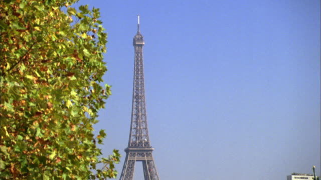 stockvideo's en b-roll-footage met td golden leaves, the eiffel tower, the liberty statue, and a tour boat on the river seine / paris, france - passagiersboot