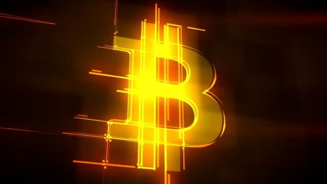 Golden lines forming bitcoin sign loopable background