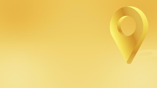 golden location pin pointer animiertes cartoon-symbol - wegweiser stock-videos und b-roll-filmmaterial