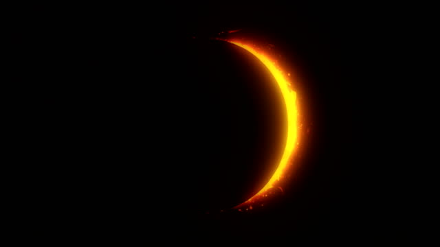 golden / orange solar eclipse with light rays and flares loop background - solar flare stock videos & royalty-free footage