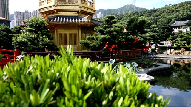 golden pavilion in nan lian garden - arch bridge stock videos & royalty-free footage