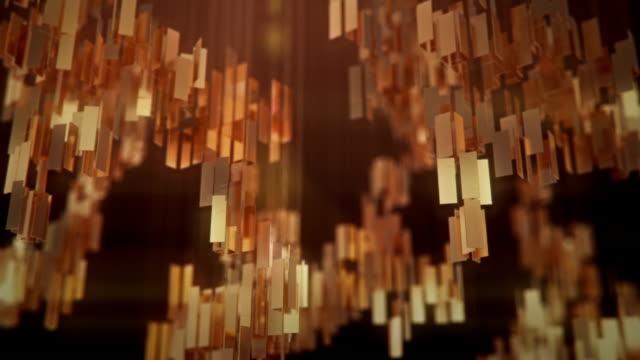 vídeos de stock, filmes e b-roll de retângulos dourados abstraem animação de fundo futurista. renderização 3d - retângulo