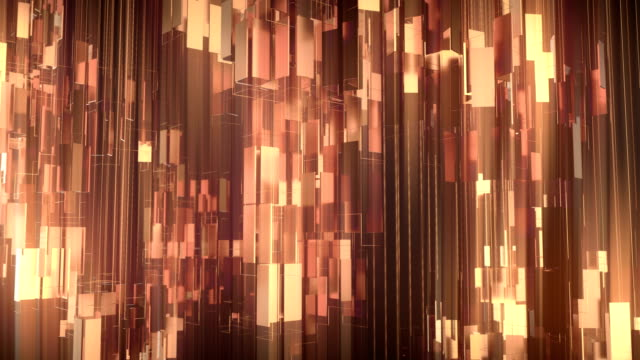 golden shiny metallic rectangular shapes rotating around vertical axis. luxurious motion graphics background. 3d rendering. 4k, ultra hd resolution. - gold colored stock videos & royalty-free footage