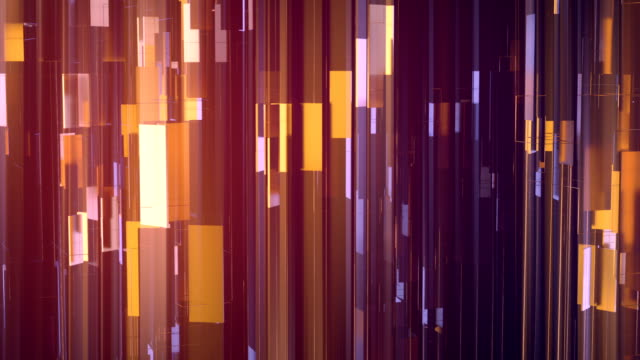 golden shiny metallic rectangular shapes rotating around vertical axis. luxurious motion graphics background. 3d rendering. hd resolution. - orange colour stock videos & royalty-free footage