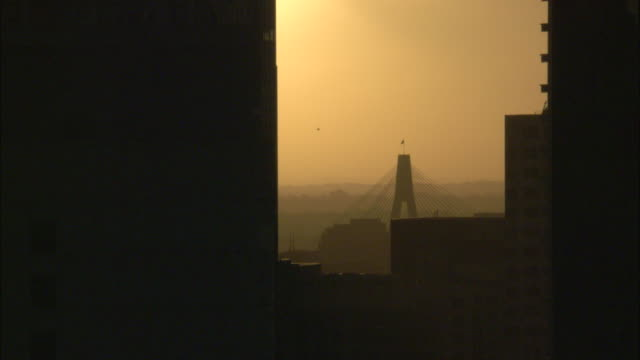 a golden sky outlines anzac bridge beyond a silhouetted skyscraper in sydney, australia. - sunrise dawn stock videos & royalty-free footage