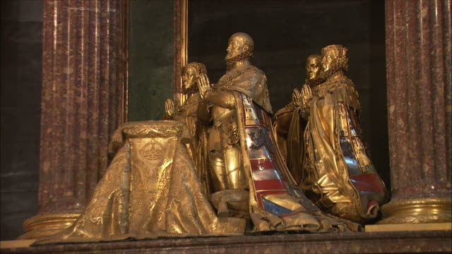 ms zi golden statues in el escorial palace, northwest of madrid, spain - gilded stock videos & royalty-free footage