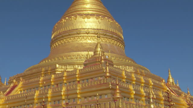 golden stupa of shwezigon pagoda - stupa stock videos & royalty-free footage