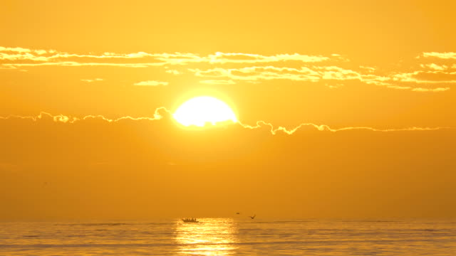 Golden sunrise over the ocean off the West coast of South Africa