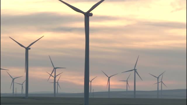 a golden sunset glows beyond the klondike wind farm in oregon. - klondike stock videos and b-roll footage