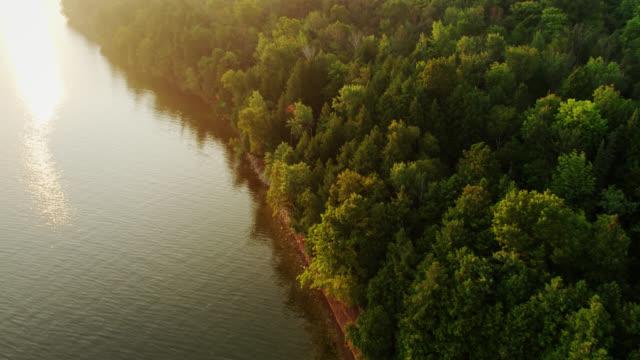 vidéos et rushes de golden sunset on peninsula park, wisconsin - aerial - cîme d'un arbre