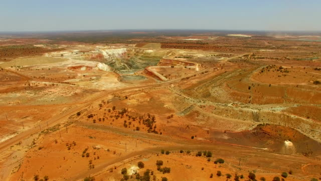 goldfields and gold mine in the australian outback. aerial view - mining stock videos & royalty-free footage