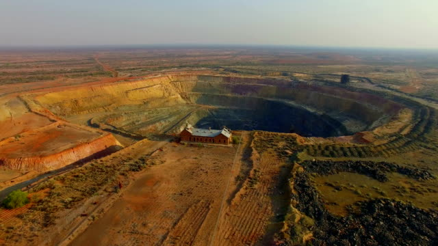 goldfields and old gold mine in the australian outback. aerial view - mining stock videos & royalty-free footage