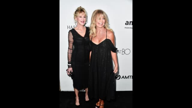 Goldie Hawn and Melanie Griffith pose for a gif at the AmFar Gala at Ron Burkle's Green Acres Estate on October 13 2017 in Beverly Hills California
