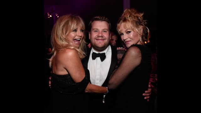 Goldie Hawn James Corden and Melanie Griffith pose for a gif at the AmFar Gala at Ron Burkle's Green Acres Estate on October 13 2017 in Beverly Hills...