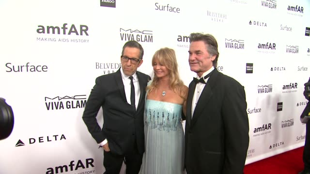 Goldie Hawn Kenneth Cole Kurt Russell at amfAR's Inspiration Gala Los Angeles in Los Angeles CA
