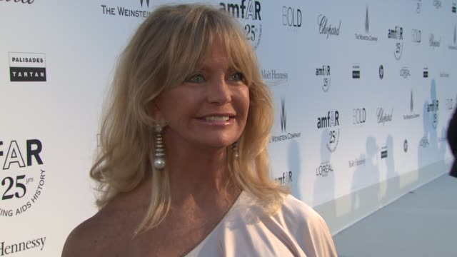 Goldie Hawn on what amfAR means to her and why people should give at the amfAR Gala Red Carpet Arrivals 64th Cannes Film Festival at Antibes