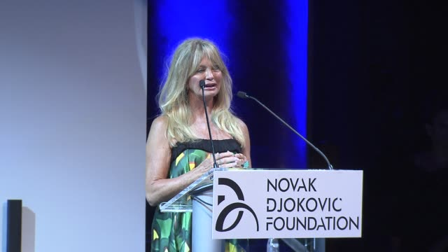 goldie hawn speaks about the program and what it does. the novak djokovic foundation new york dinner at capitale on september 10, 2013 in new york,... - goldie hawn stock-videos und b-roll-filmmaterial