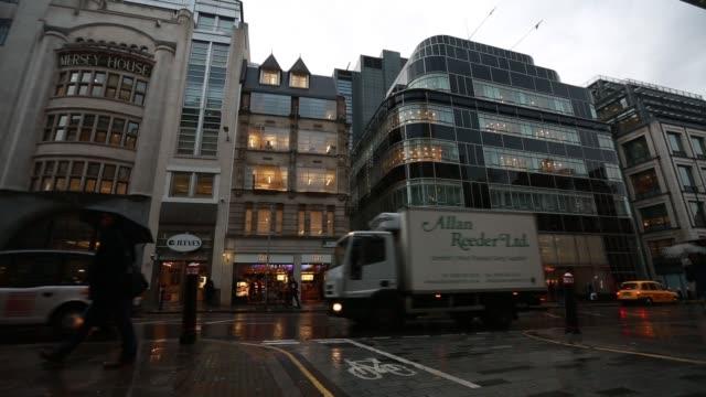 goldman sachs river court office at 120 fleet street in london on wednesday, november 26 gvs of the office - fleet street stock videos & royalty-free footage