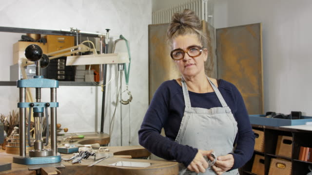 goldsmith workshop and retail shop led by independent self-employed master craftswoman. - jewelry stock videos and b-roll footage