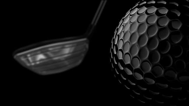 vídeos de stock e filmes b-roll de bola de golfe e clup. loopable.include canal alfa. - golf