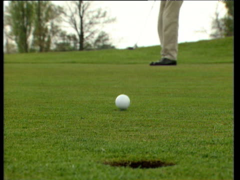 vidéos et rushes de golf ball is struck towards camera on putting green and goes into hole feet walk towards camera and golfer removes ball from hole - balle de golf