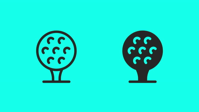 golf ball on tee icons - vector animate - sports period stock videos & royalty-free footage