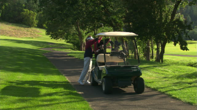 golf cart and two golfers - see other clips from this shoot 1271 stock videos and b-roll footage