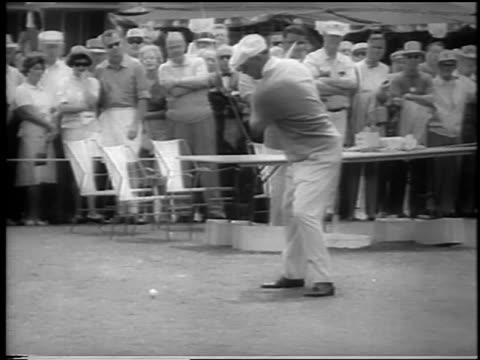 b/w 1962 golf champion ben hogan teeing off at doralryder open / miami / newsreel - doral stock videos and b-roll footage
