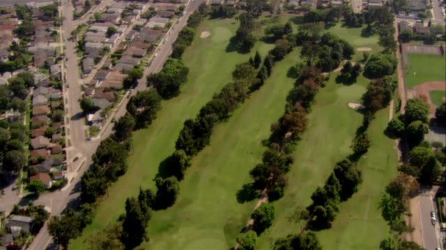 aerial golf course and residential area, santa monica, california, usa - santa monica stock videos & royalty-free footage