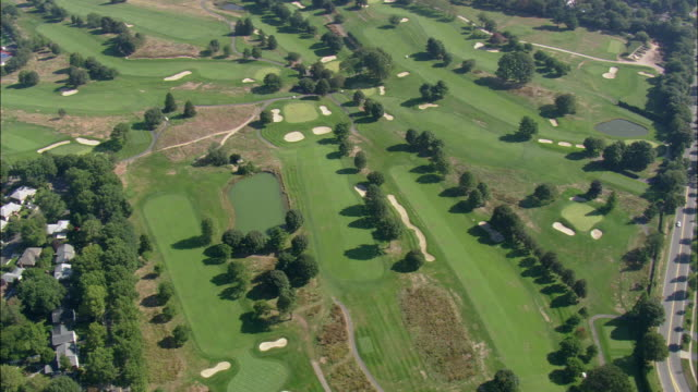 aerial golf course garden city country club / new york, usa - nassau stock videos & royalty-free footage