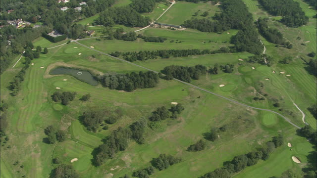 aerial, golf course, le touquet-paris-plage, france - green golf course stock videos and b-roll footage