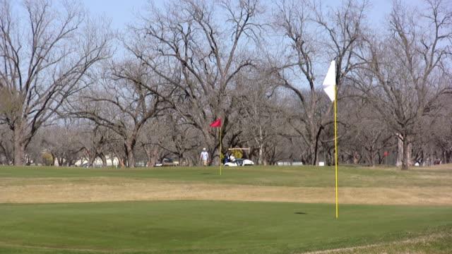 vídeos y material grabado en eventos de stock de campo de golf en el putting green con carrito - bandera de golf