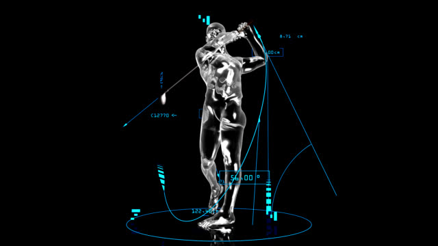 3d golf man with technical data - swinging stock videos & royalty-free footage