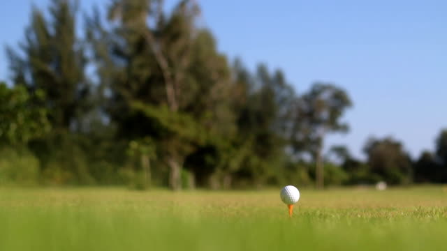 vídeos de stock e filmes b-roll de golf player make tee off on a golf course - golfe