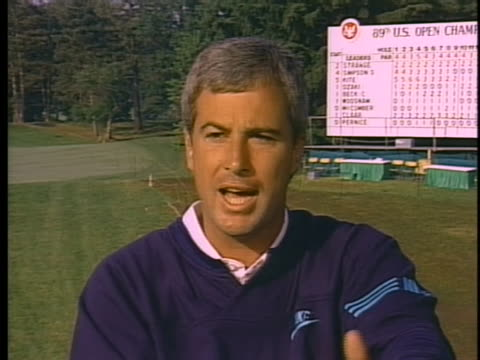 us golfer and sportsman of the week curtis strange gives an interview after winning his second consecutive us open - open stock-videos und b-roll-filmmaterial