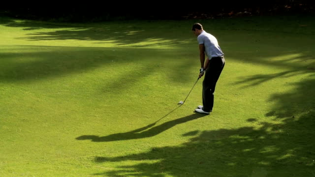 golfer chipping towards the green - golfer stock videos and b-roll footage
