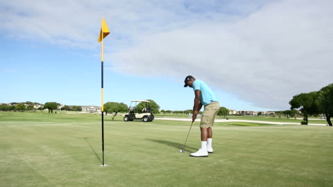 golfer disappointed about missing a hole on the golf course - golf shoe stock videos & royalty-free footage