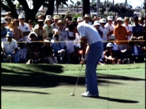 golfer hale irwin playing a shot for an eagle on the 9th hole at the hawaiian open golf tournament/ honolulu oahu hawaii islands usa/ audio - 1978 stock videos & royalty-free footage