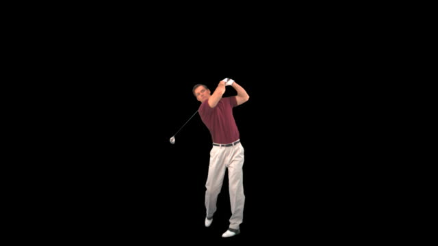 golfer hitting drive - this clip has an embedded alpha-channel - golfer stock videos and b-roll footage