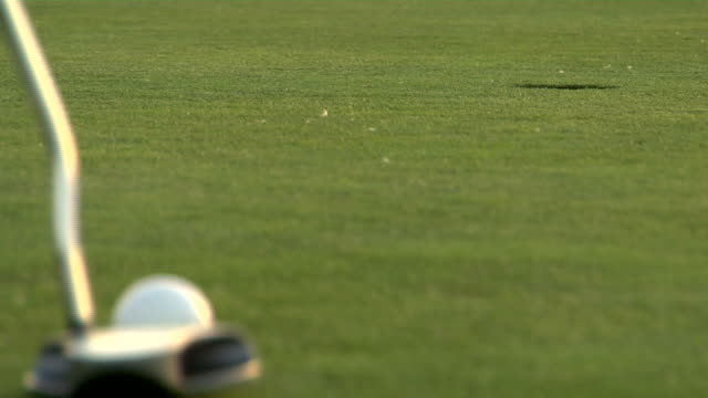 ECU, SELECTIVE FOCUS, Golfer putting green, close-up of club and ball