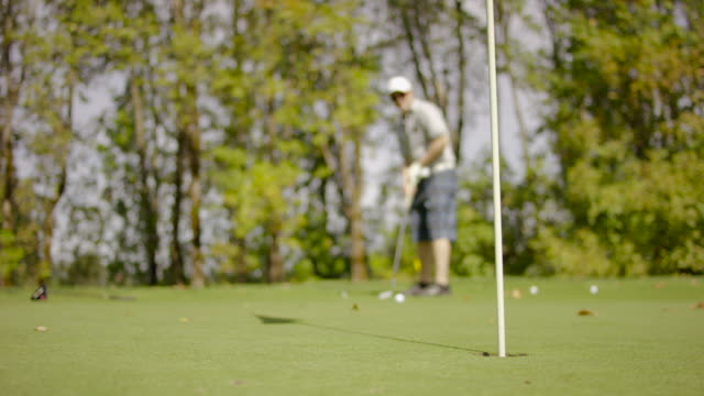 golfer putting on the green of a golf course - golf shoe stock videos & royalty-free footage