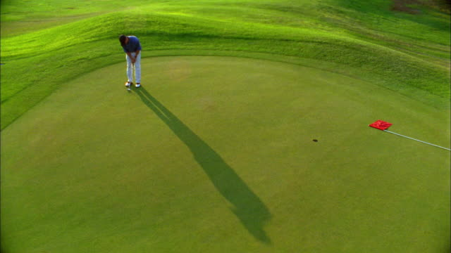 A golfer successfully makes a putt on a green.