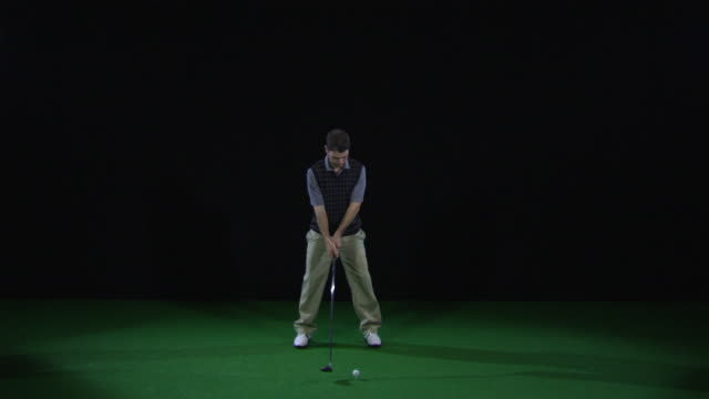 ws slo mo golfer teeing off / berlin, germany - golf swing stock videos & royalty-free footage