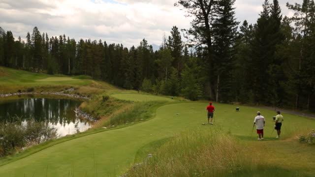 vídeos y material grabado en eventos de stock de golfer tees off on mountain golf course - green de golf