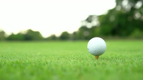 golfer walking on green grass and drive golf, golf stick and ball on tee. - putting stock videos & royalty-free footage