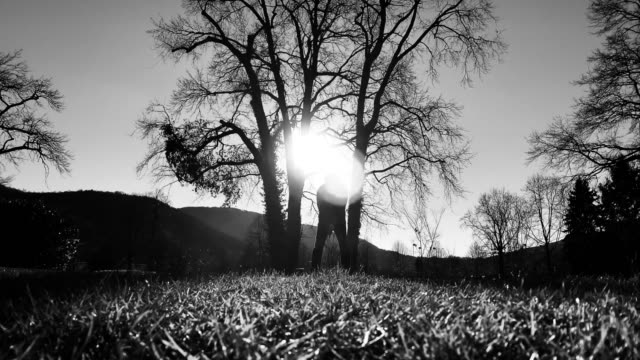 vídeos y material grabado en eventos de stock de golfer with golf swing against bare tree and sunset - bare tree
