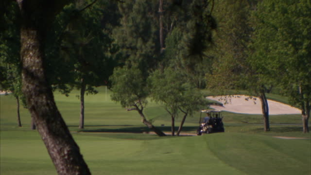 golfers drive a golf cart over a fairway. - golf cart stock videos & royalty-free footage
