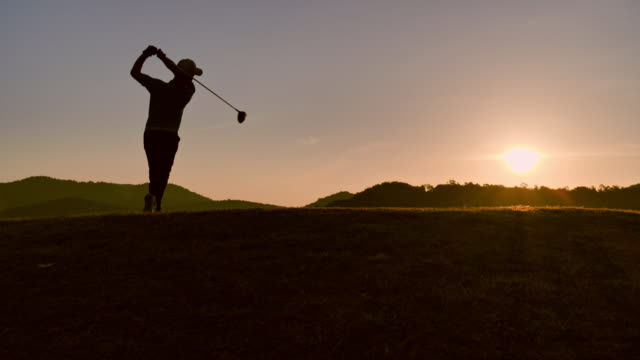 golfers hit sweeping in the summer for relax time, sport concept. - golfer stock videos & royalty-free footage